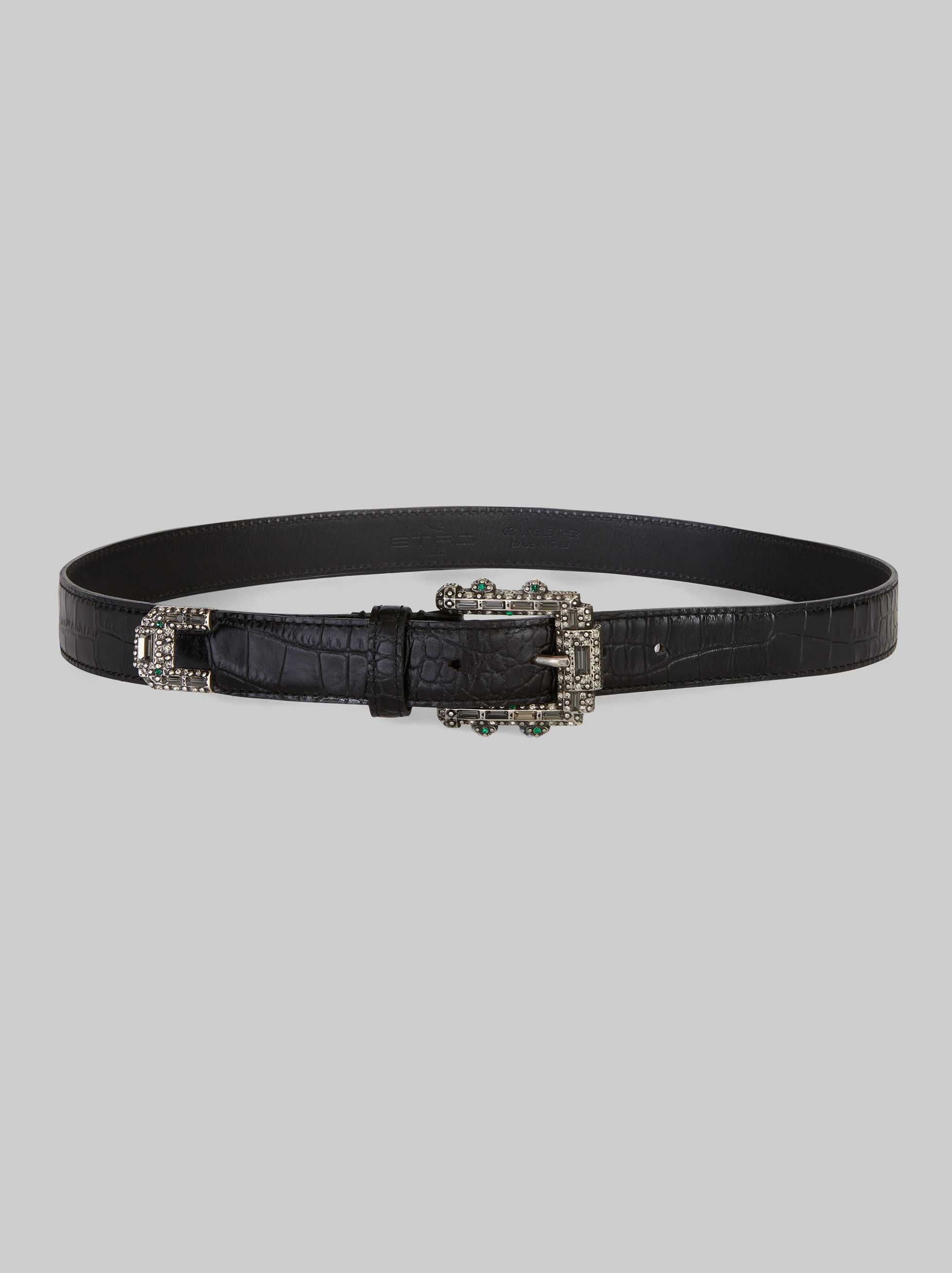 CROCODILE PRINT LEATHER BELT