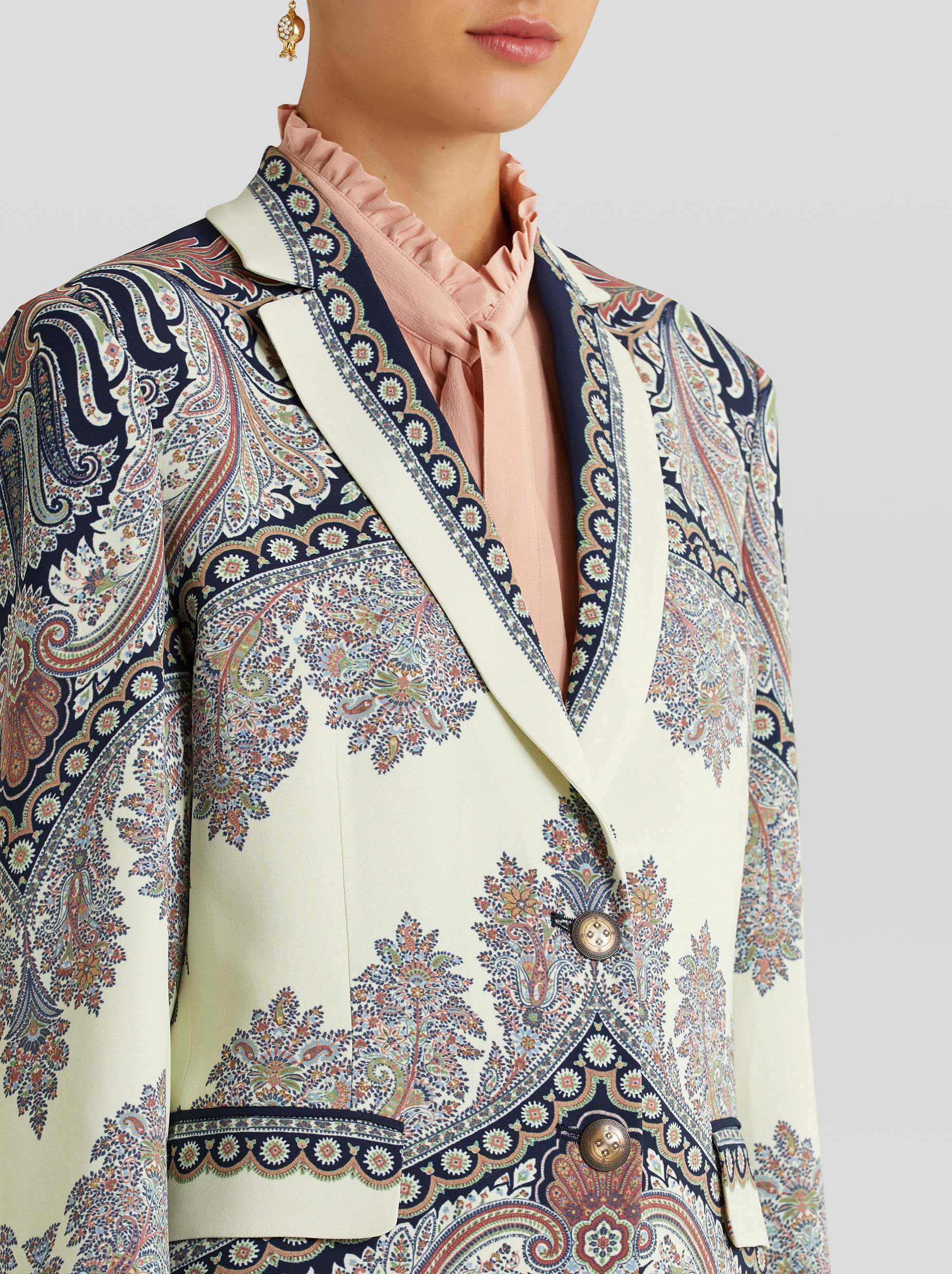 TAILORED FLORAL PAISLEY PRINT JACKET