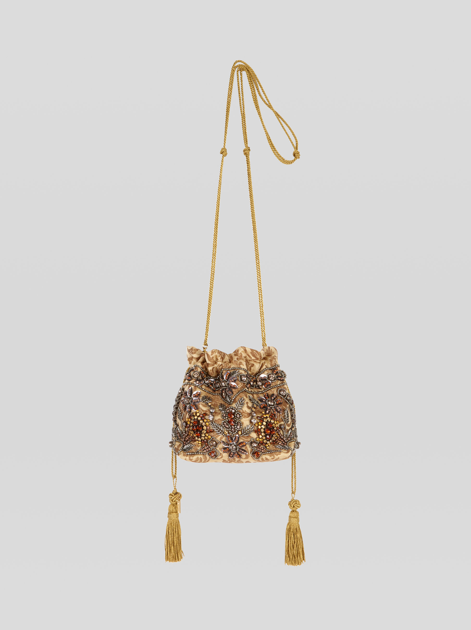 MINI BUCKET BAG WITH JEWEL EMBROIDERY
