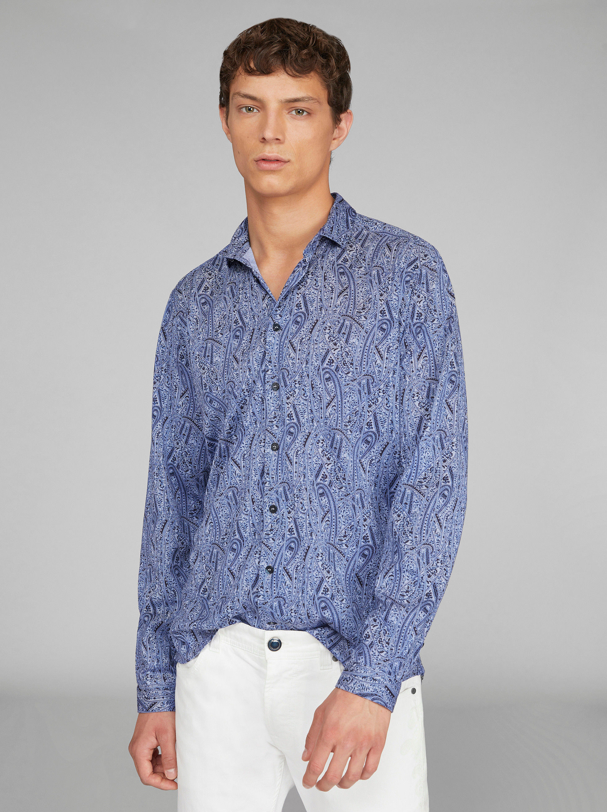 COTTON SHIRT WITH PAISLEY DETAILS