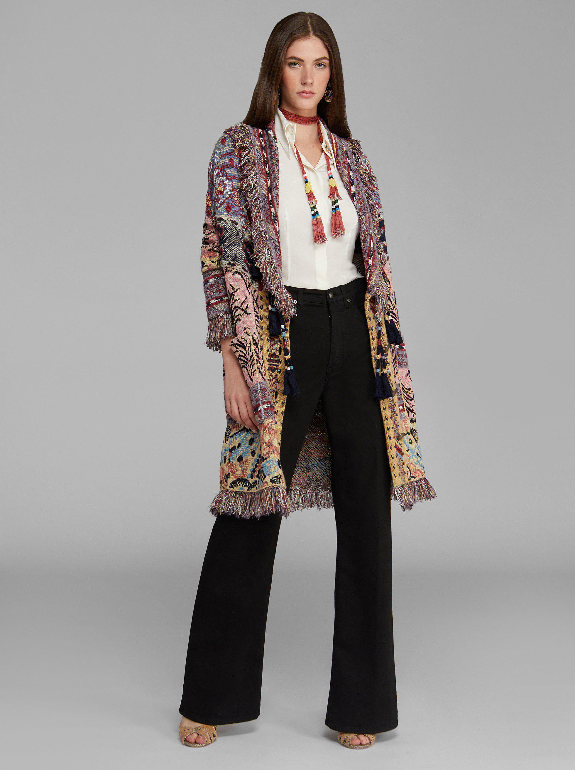 JACQUARD KNITTED COAT WITH FRINGE