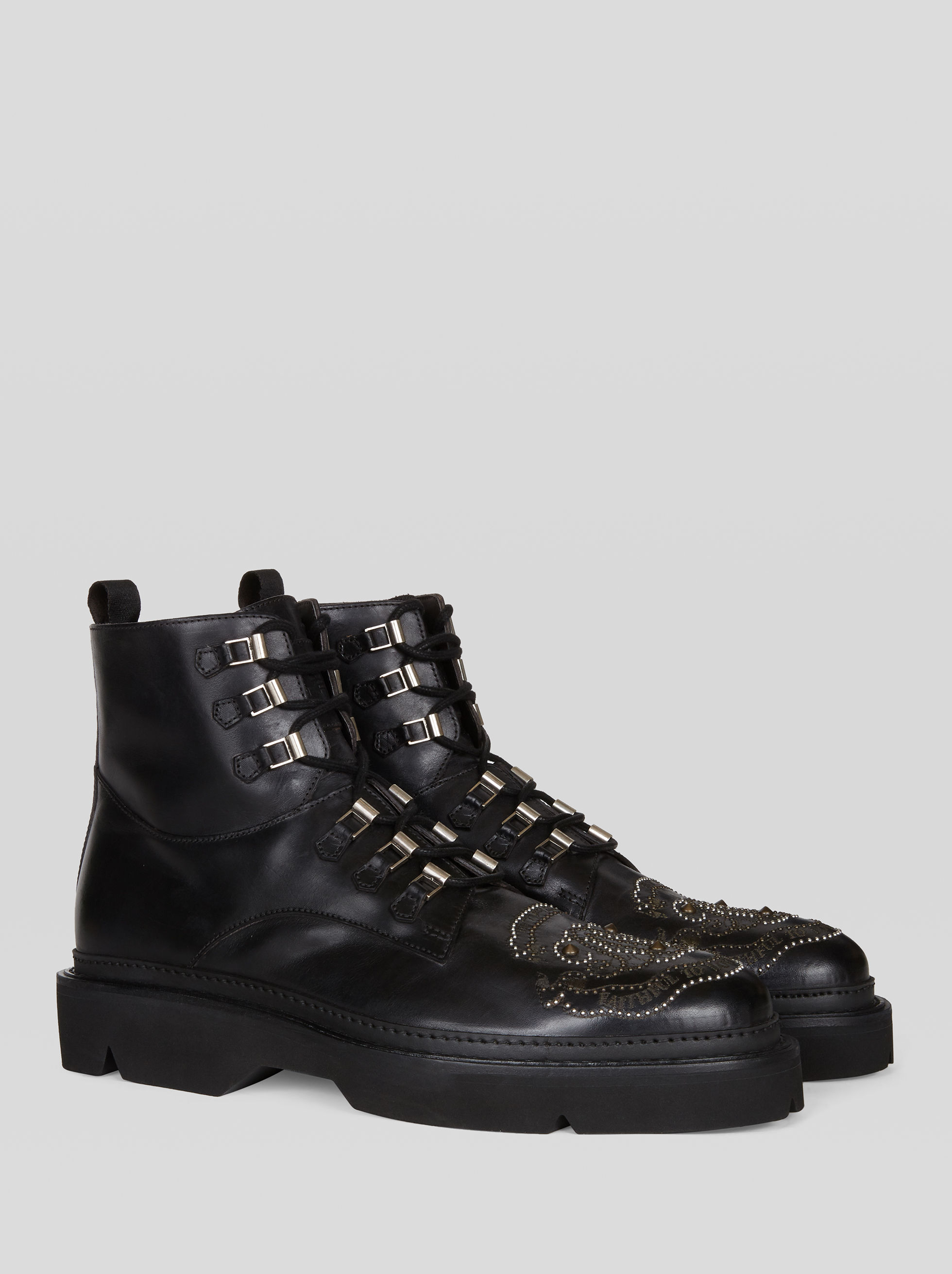 LEATHER COMBAT BOOTS WITH EMBROIDERY AND STUDS