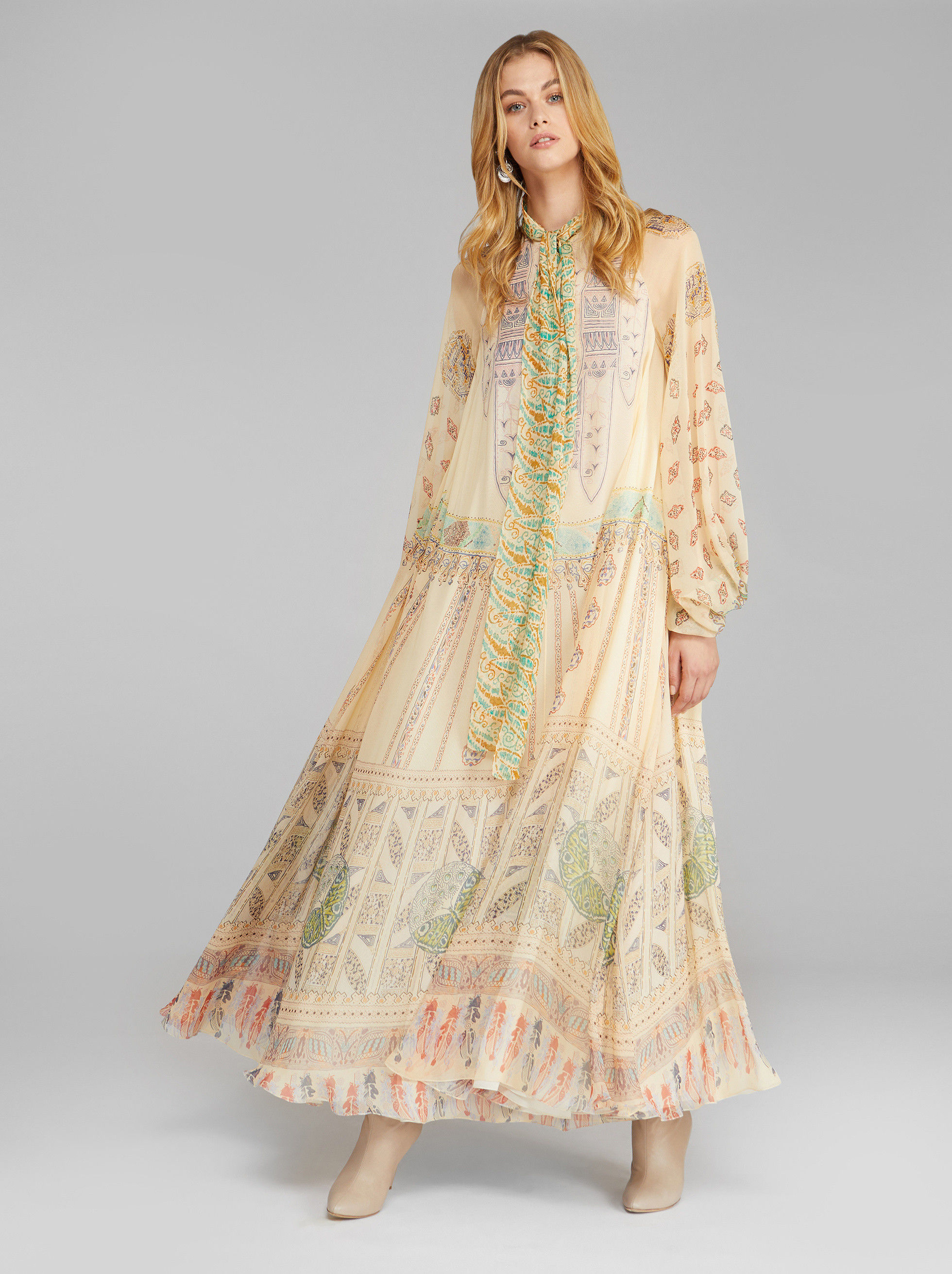 LONG PRINTED CHIFFON DRESS