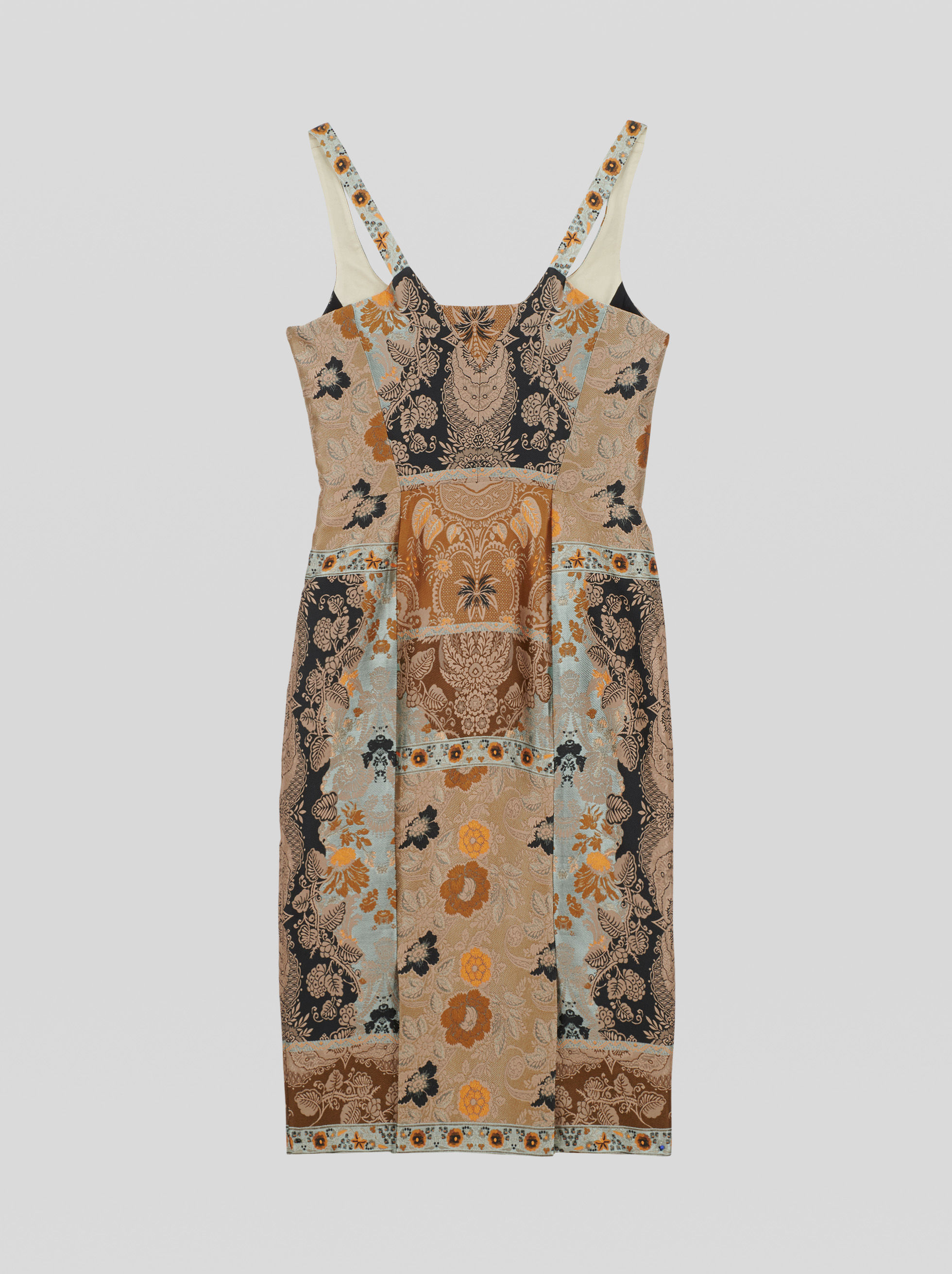 PATCHWORK JACQUARD SHEATH DRESS