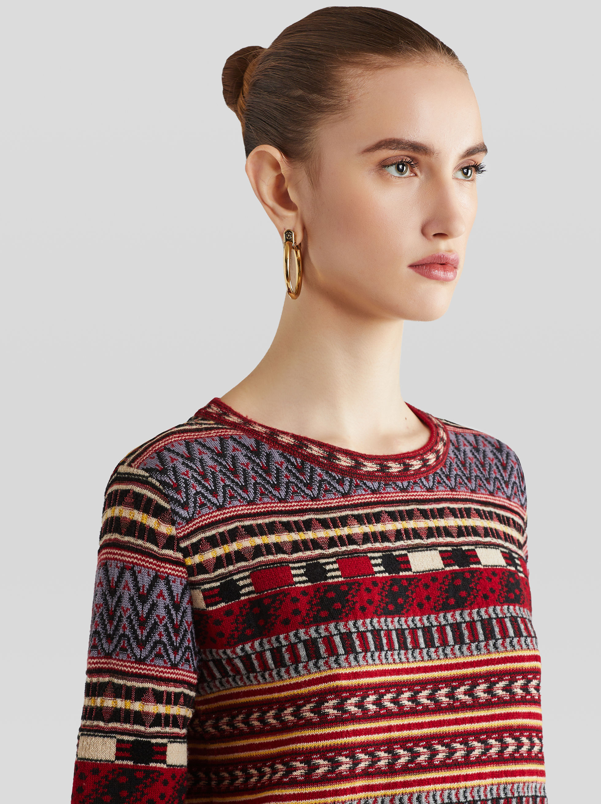 ROUND-NECKED JACQUARD JUMPER