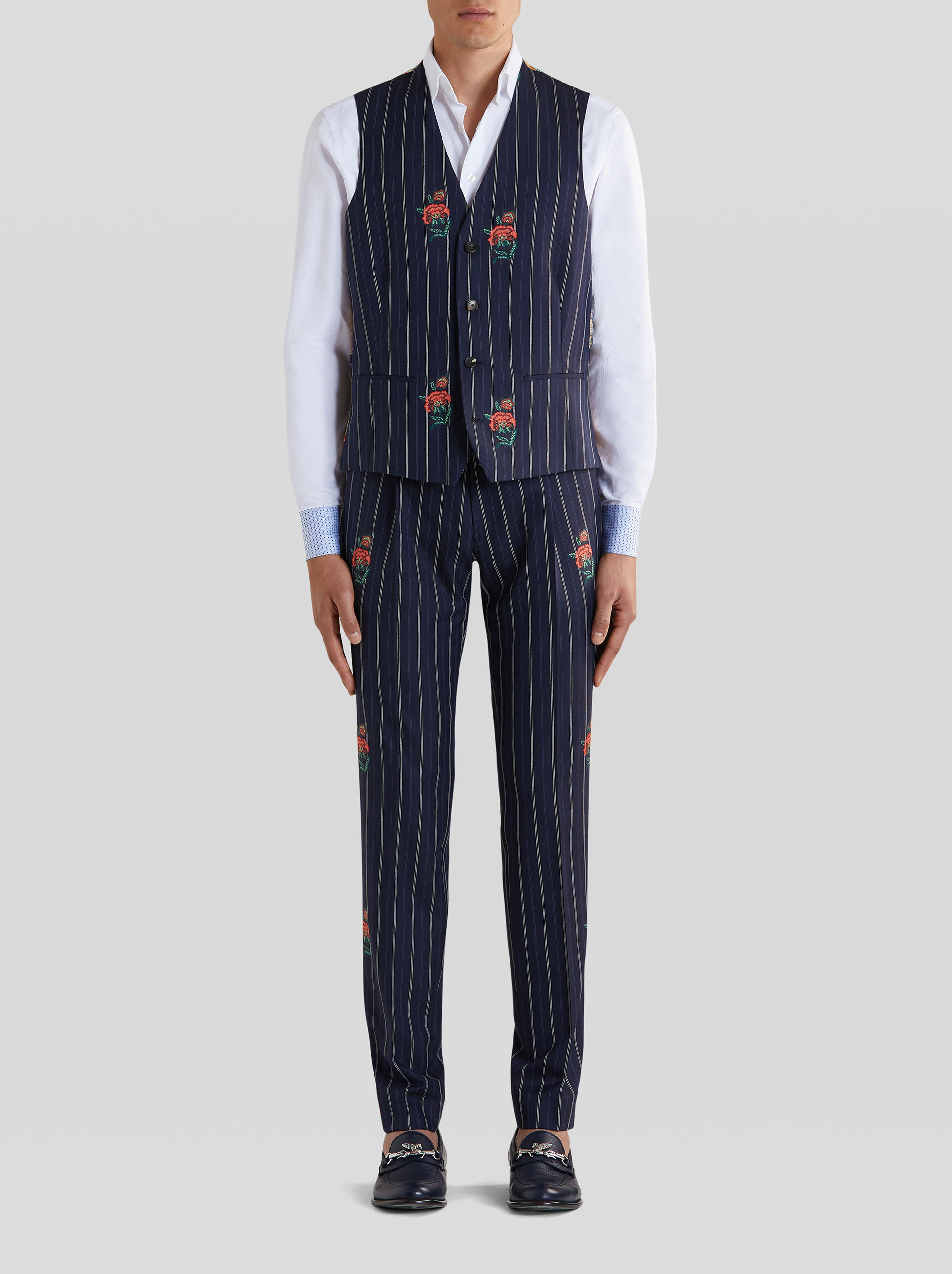 PINSTRIPE JACQUARD WAISTCOAT WITH FLOWERS