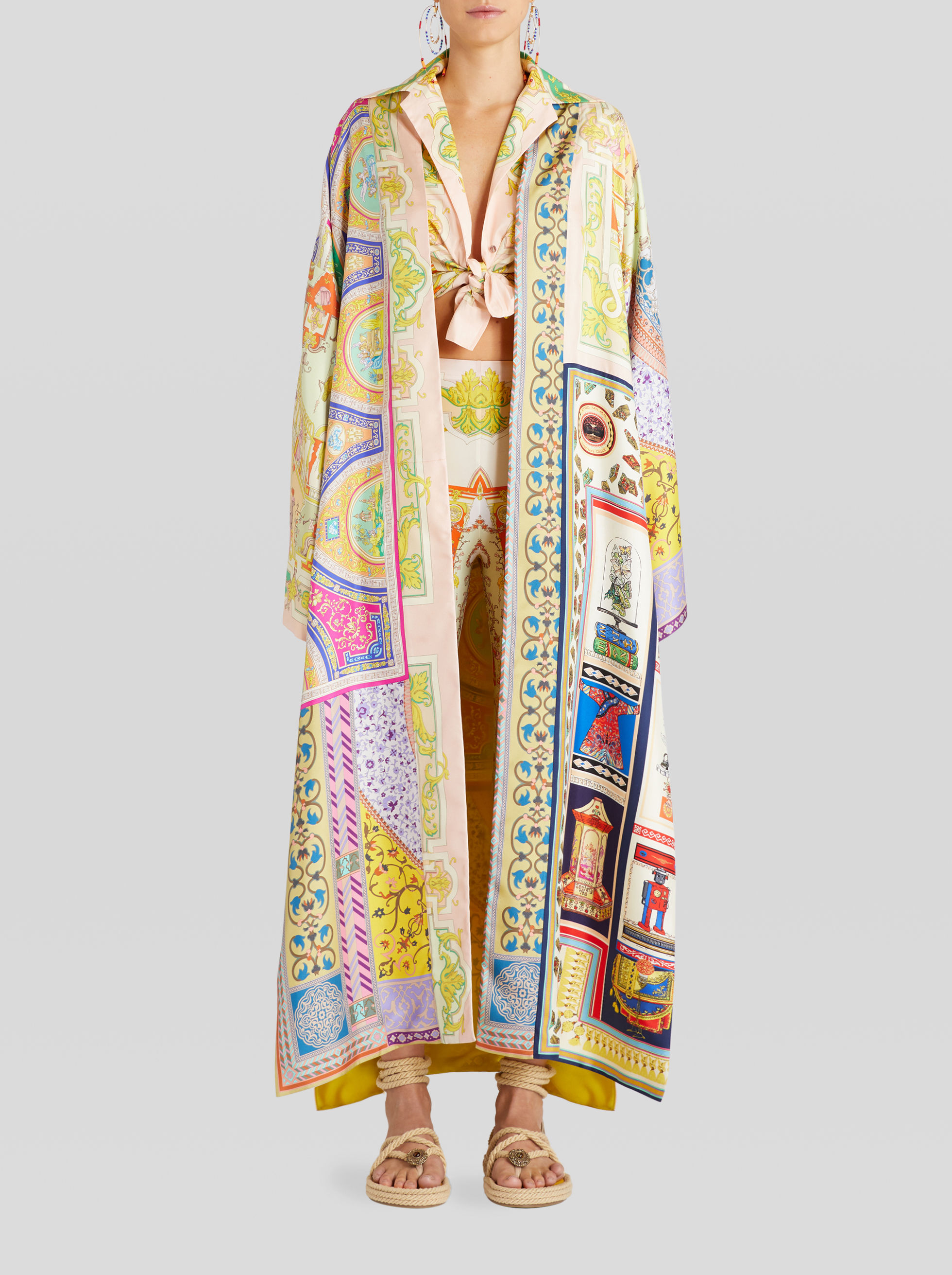 SILK LIGHT KIMONO COAT WITH ORNAMENTAL PRINT