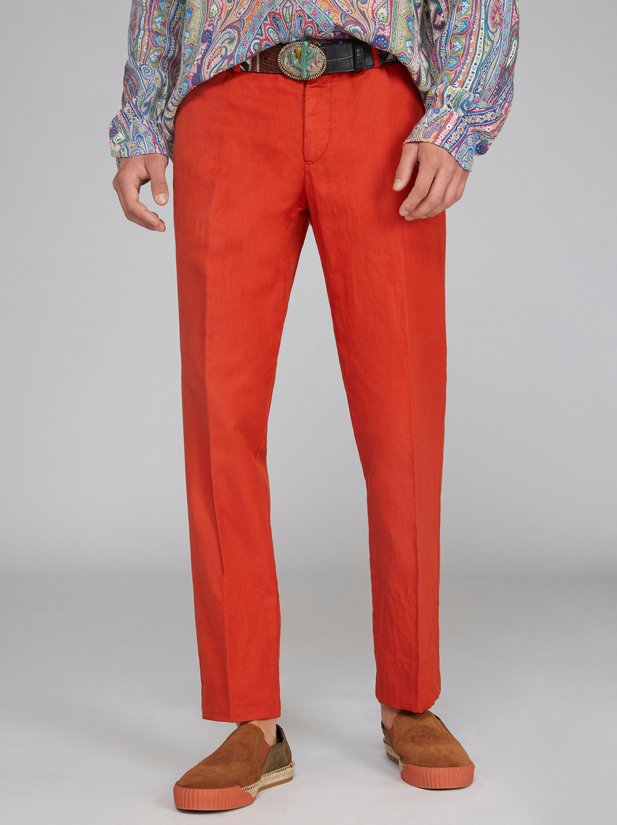 COTTON AND LINEN CHINO TROUSERS