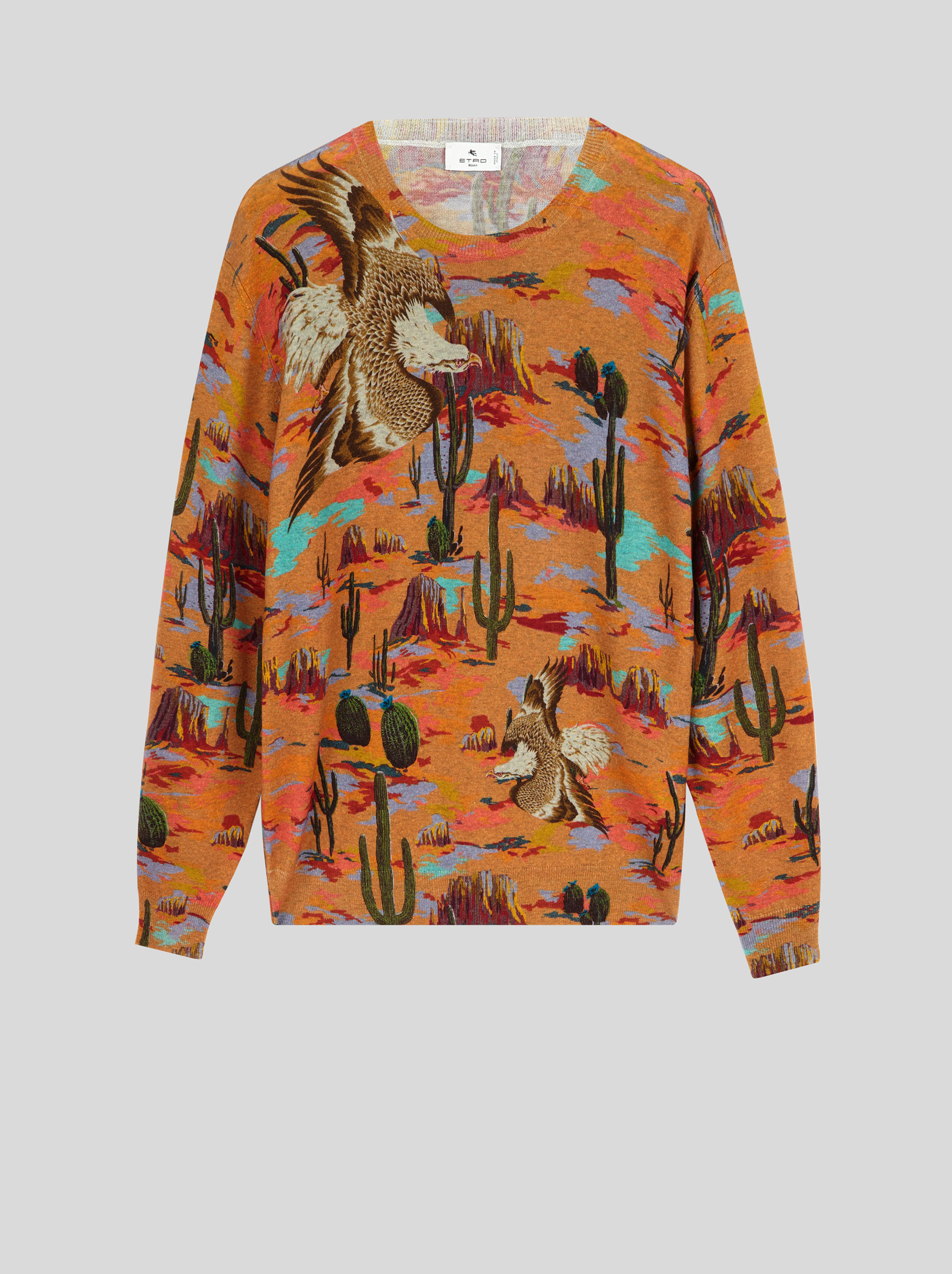WOOL JUMPER WITH DESERT AND EAGLE PRINT