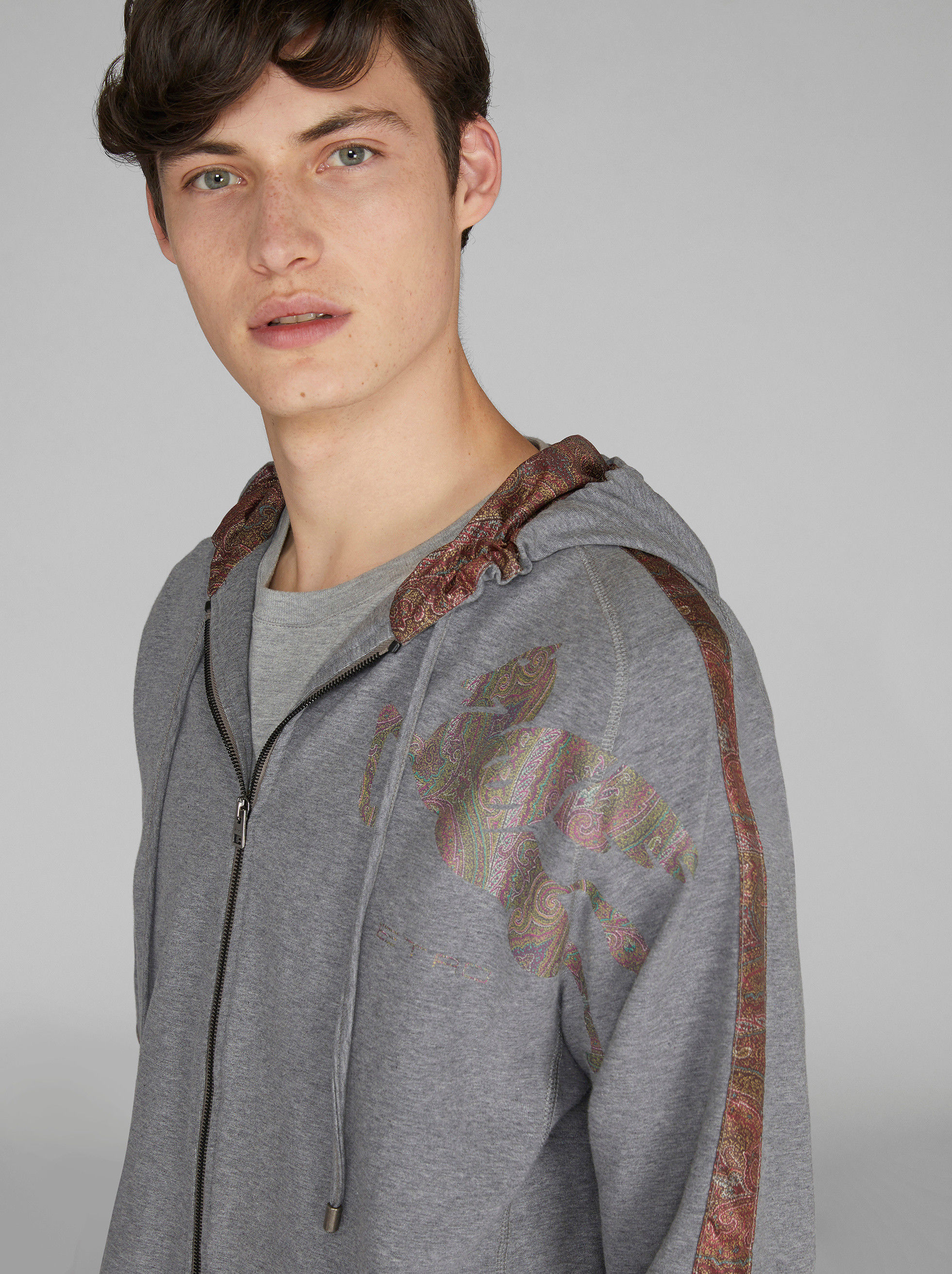 JERSEY SWEATSHIRT WITH PAISLEY DETAILS
