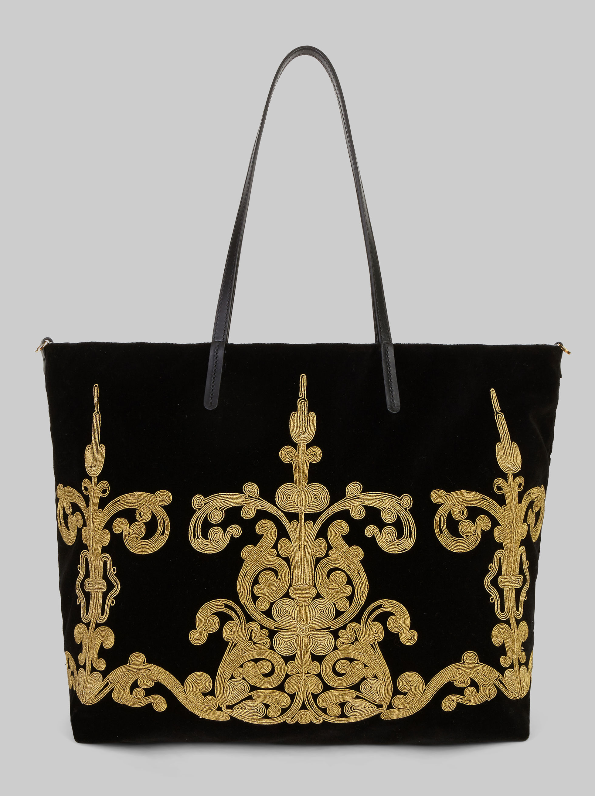 VELVET SHOPPER WITH EMBROIDERIES