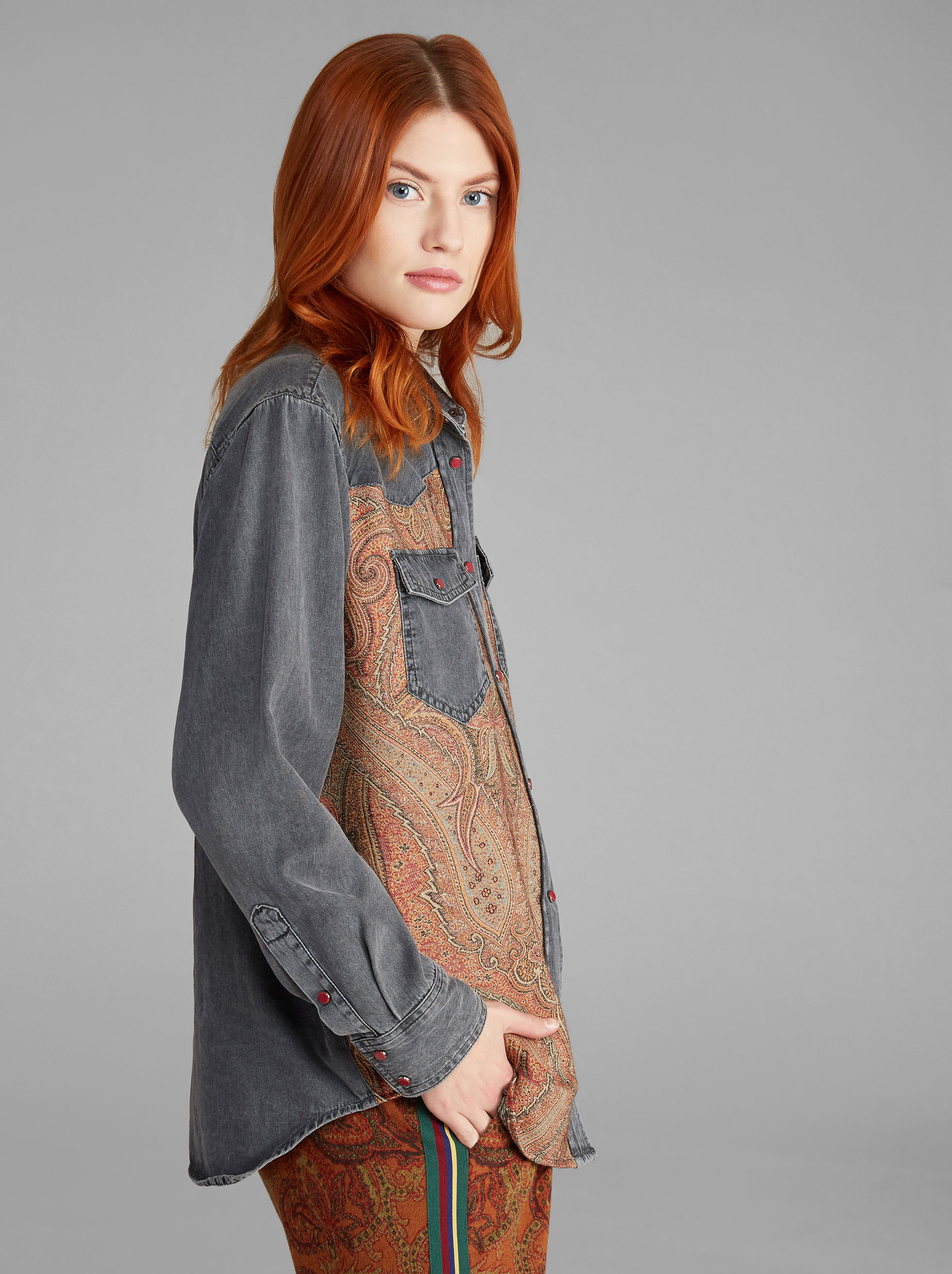 CAMICIA IN JEANS PAISLEY JACQUARD