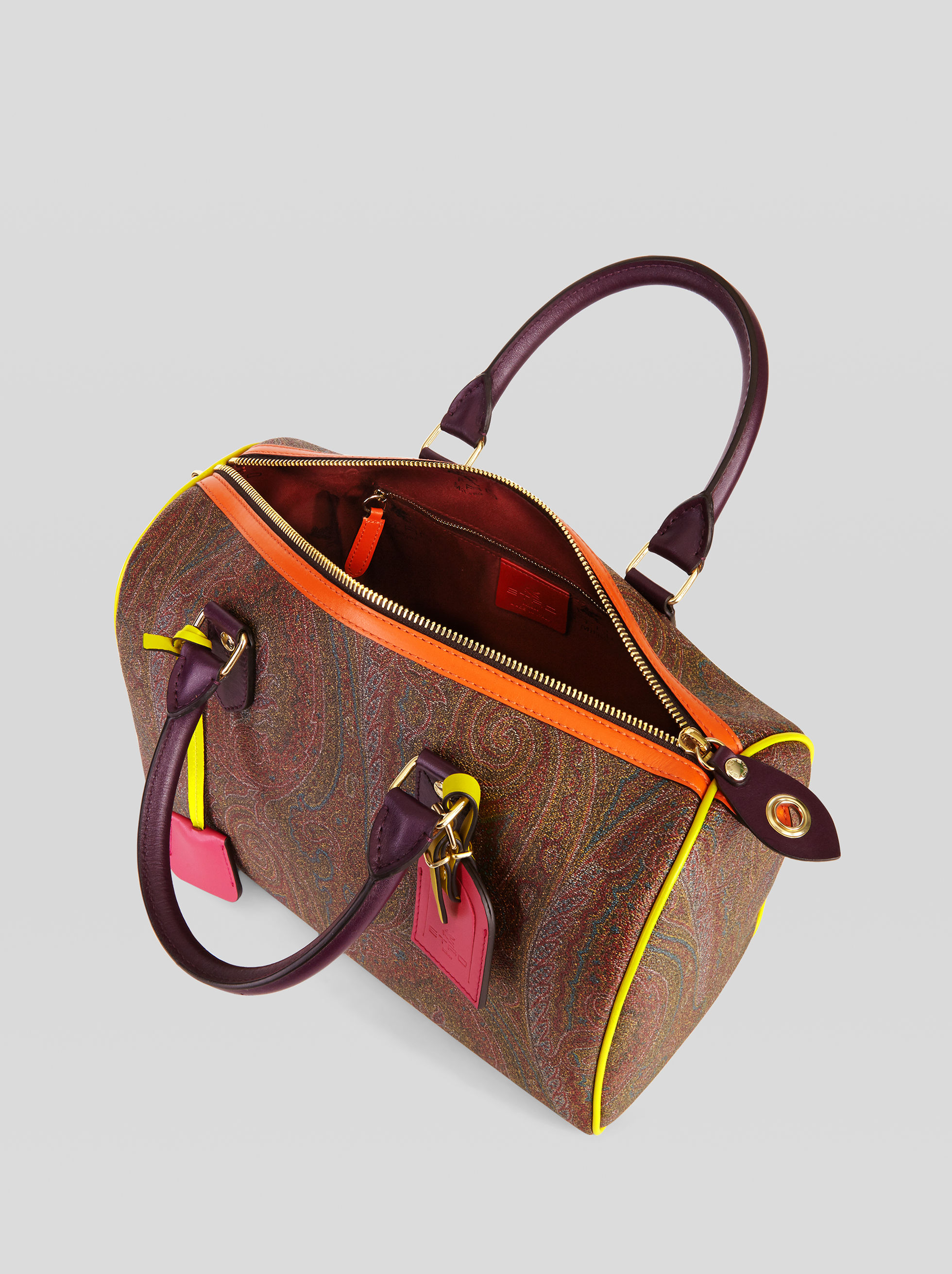 PAISLEY HANDBAG WITH MULTICOLORED DETAILS