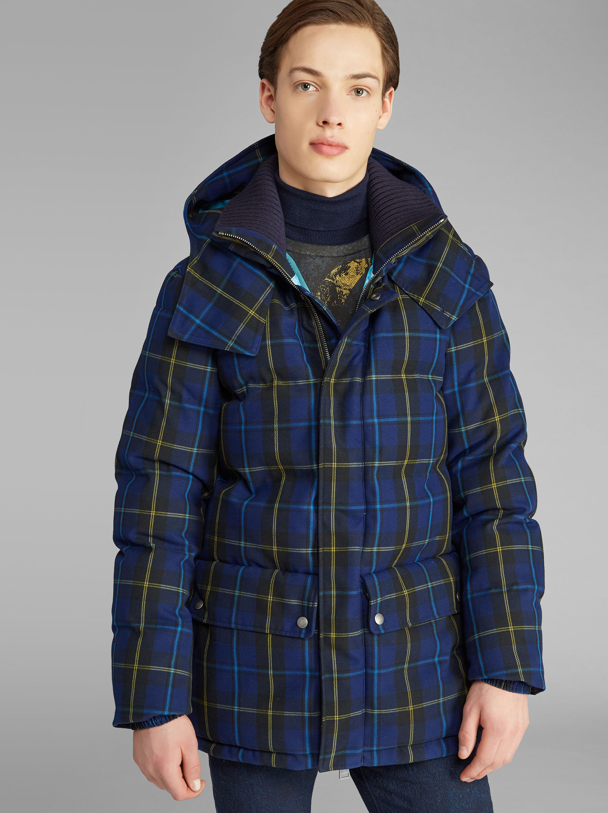 BENETROESSERE CHECK DOWN JACKET