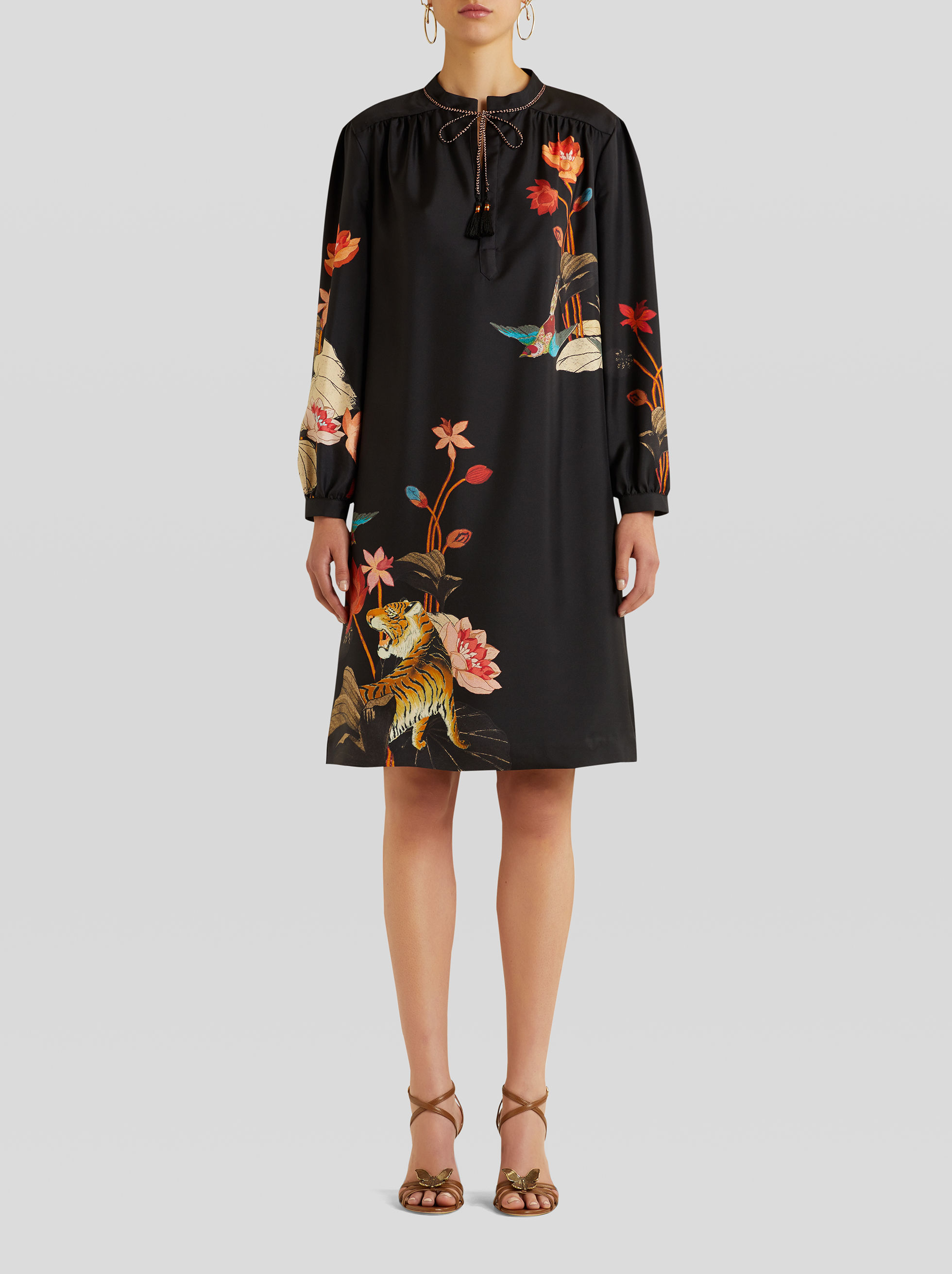 Etro TIGER AND WATER LILY DESIGN SILK DRESS