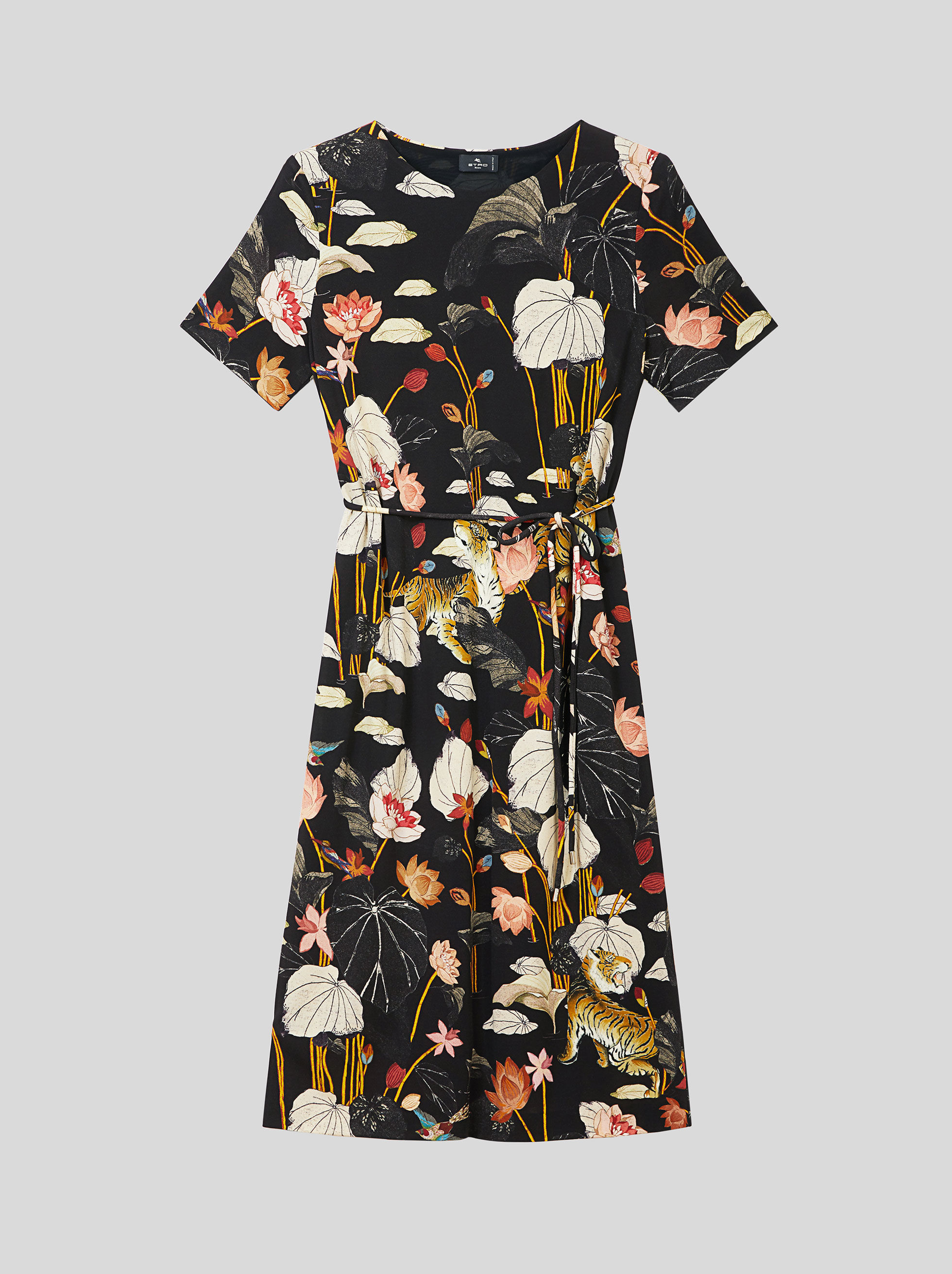 JERSEY DRESS WITH TIGERS AND WATER LILIES