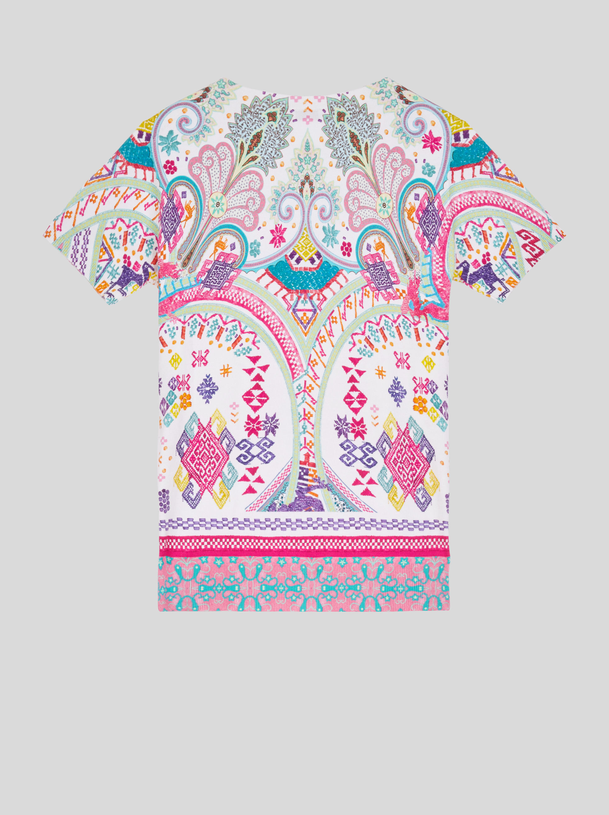 SILK JUMPER WITH NAÏF EMBROIDERY AND PAISLEY-EFFECT PRINT