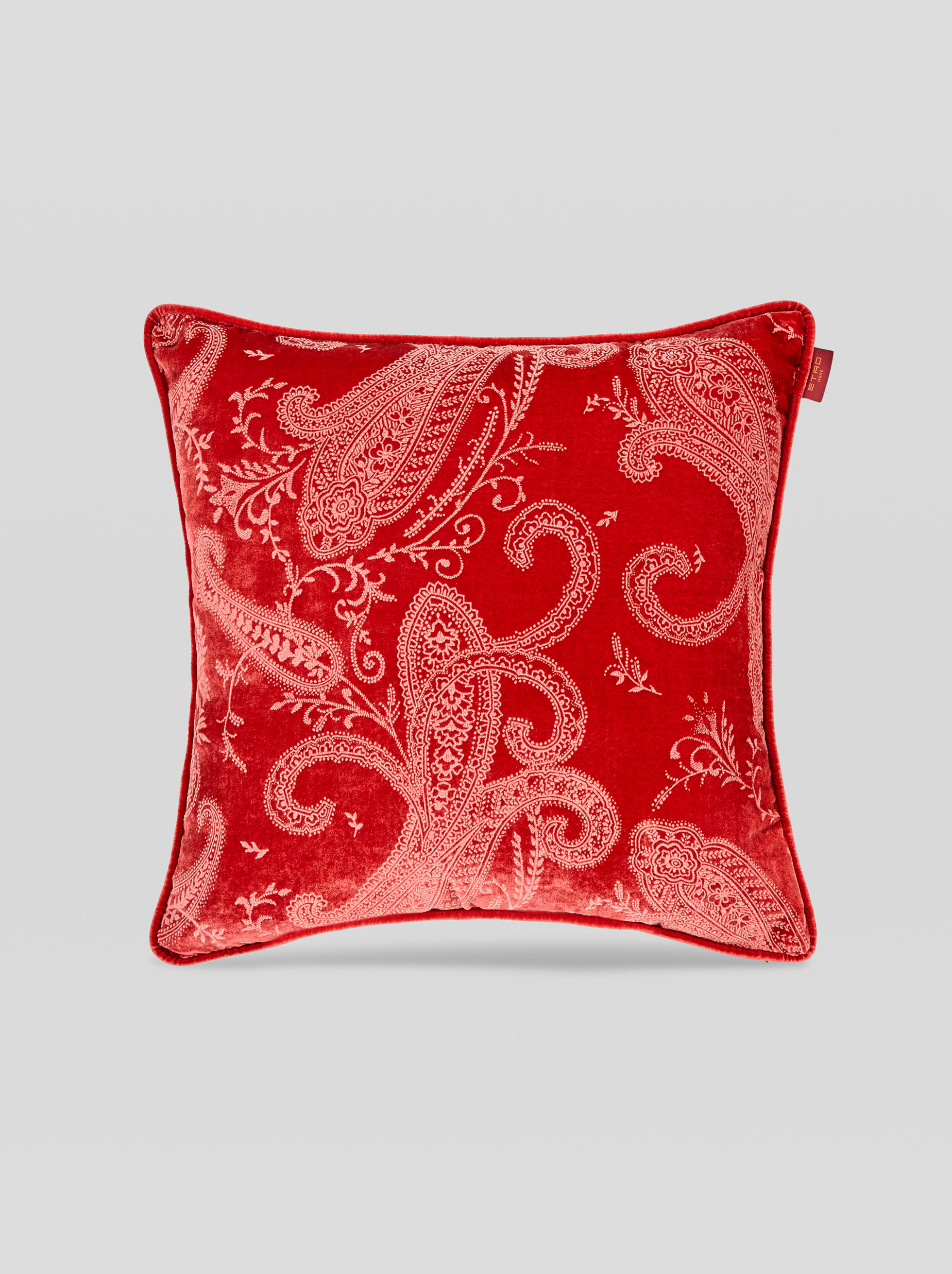 FLOCKED SILK VELVET CUSHION WITH TASSELS