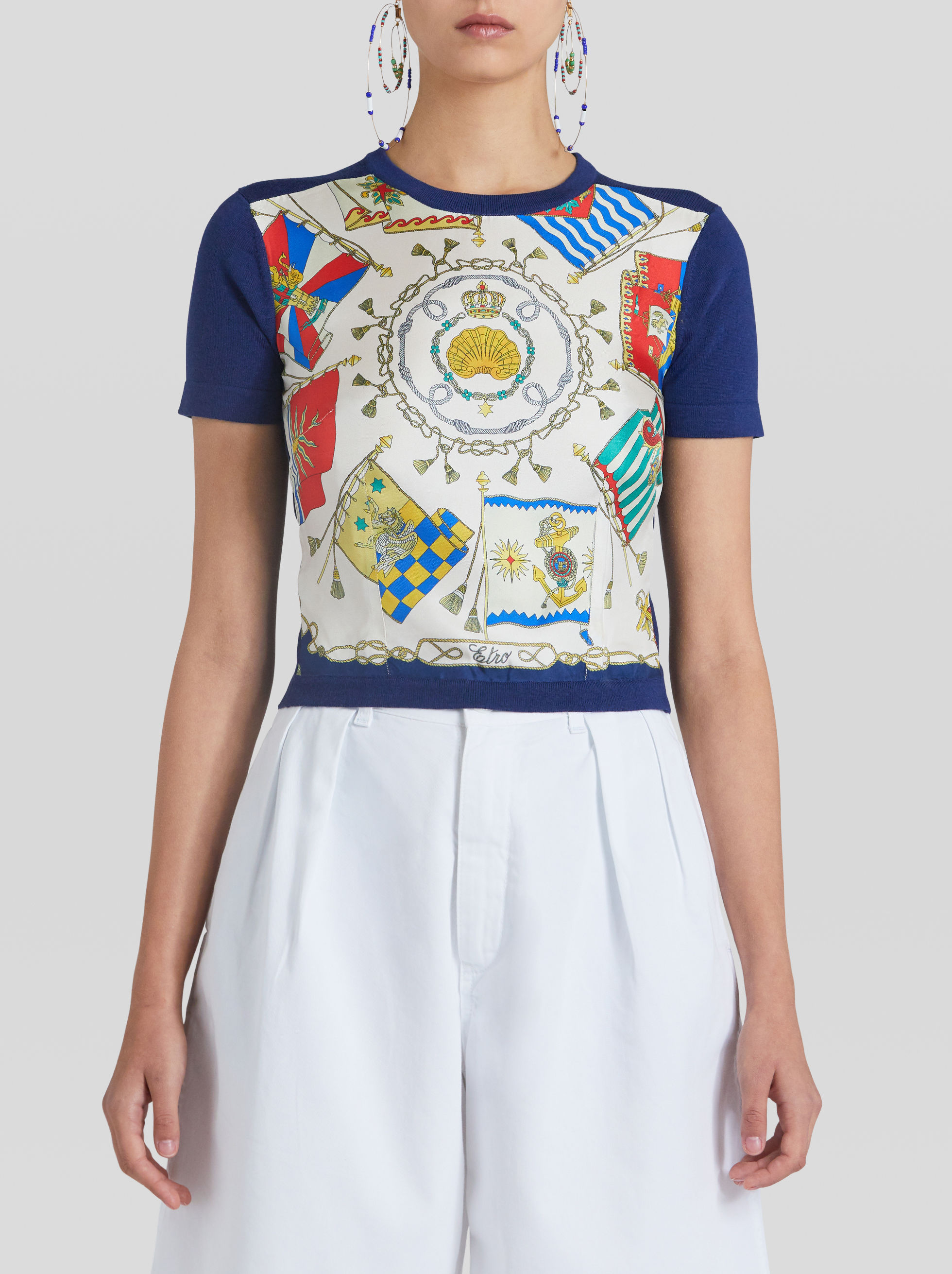 WOOL AND SILK T-SHIRT WITH NAUTICAL PRINT