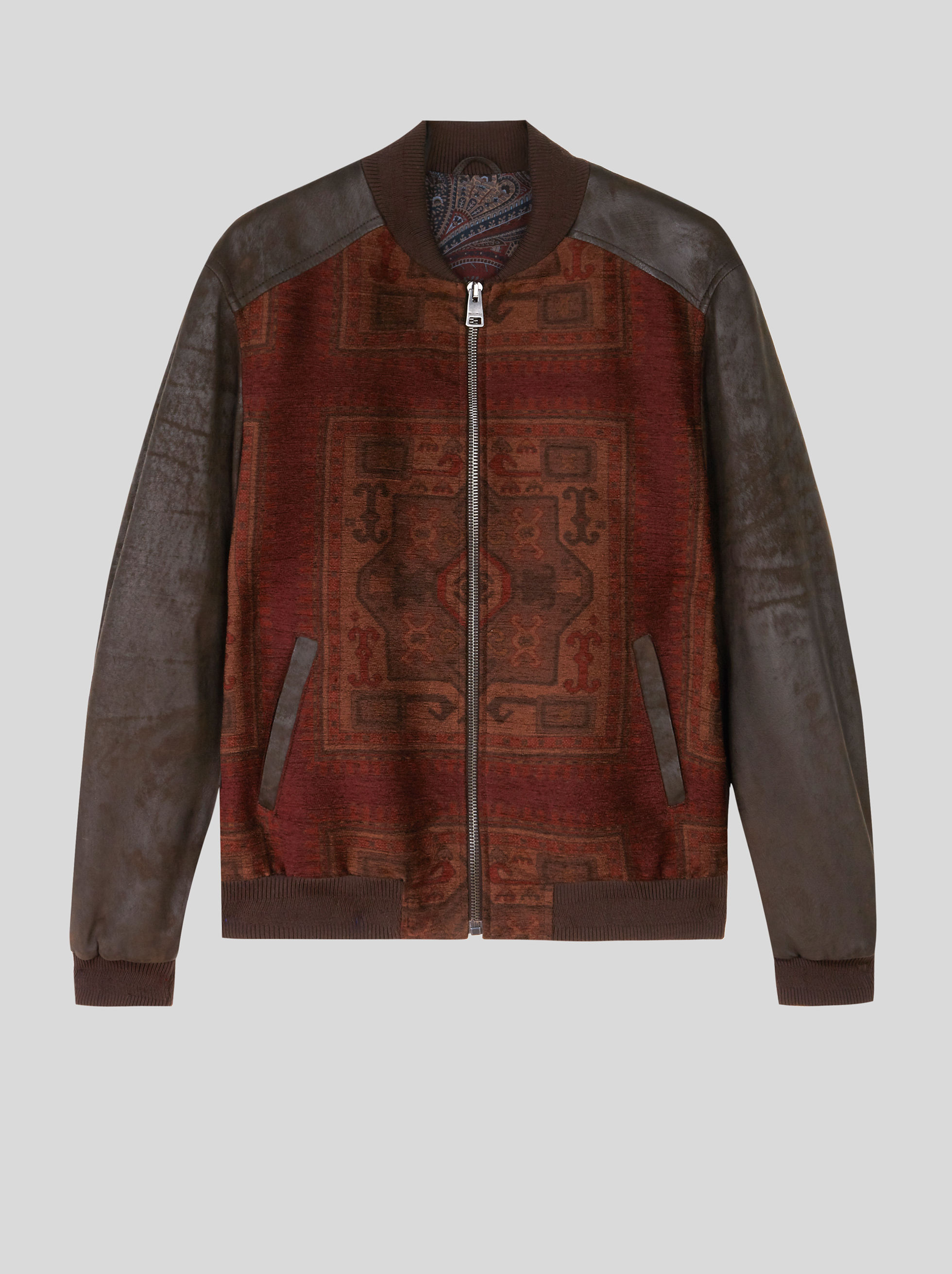 NUBUCK AND CHENILLE BOMBER JACKET WITH CARPET PRINT