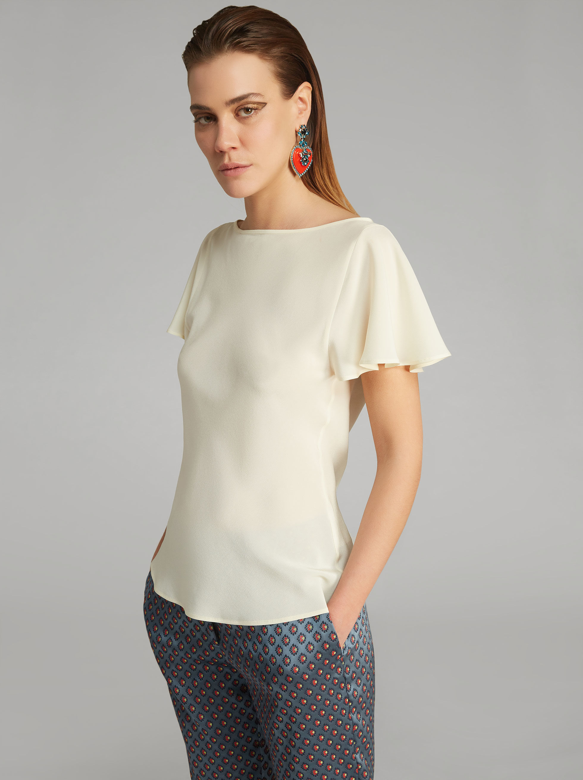SILK TOP WITH RUFFLES