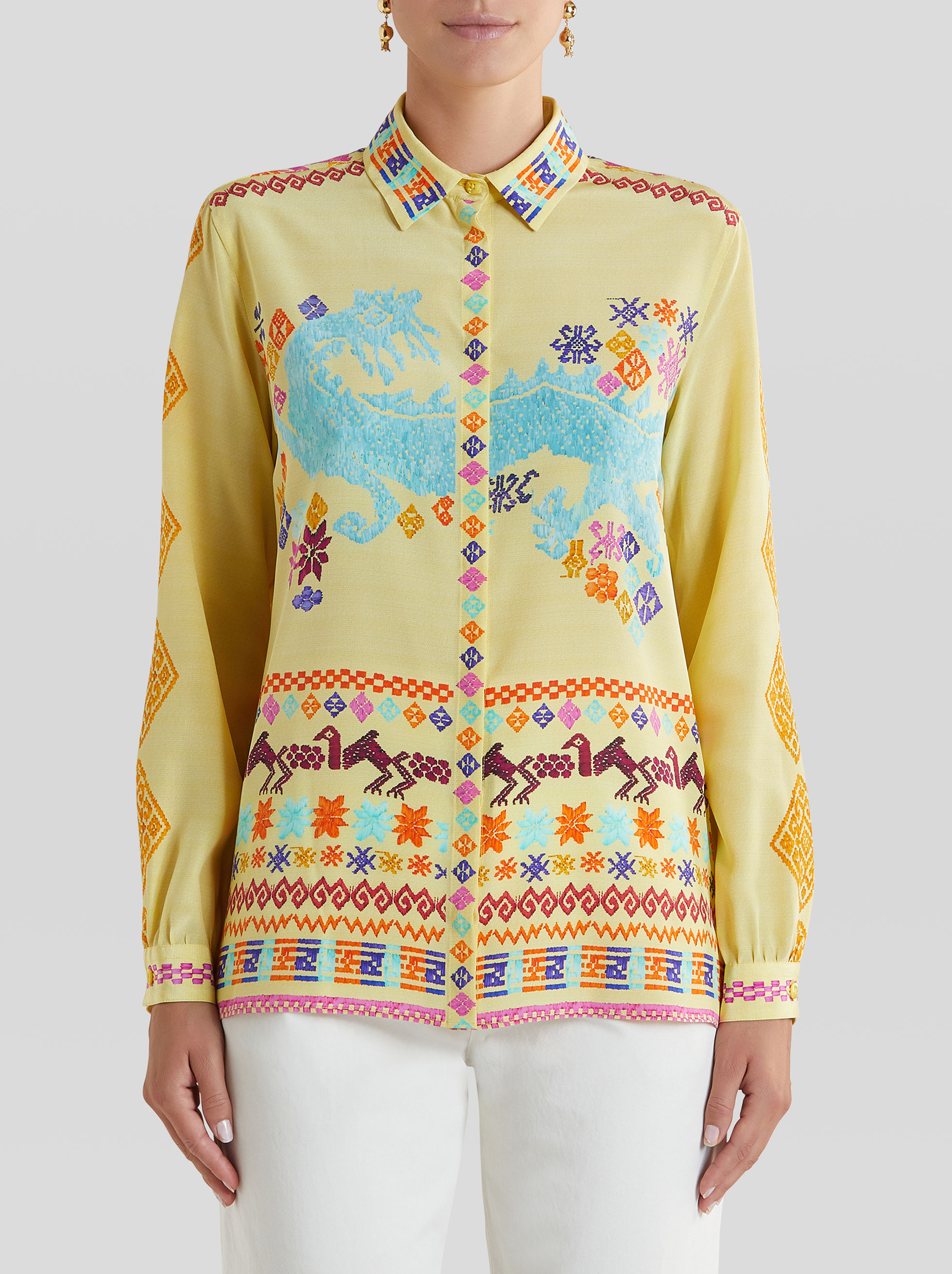 EMBROIDERY-EFFECT PRINT SILK SHIRT