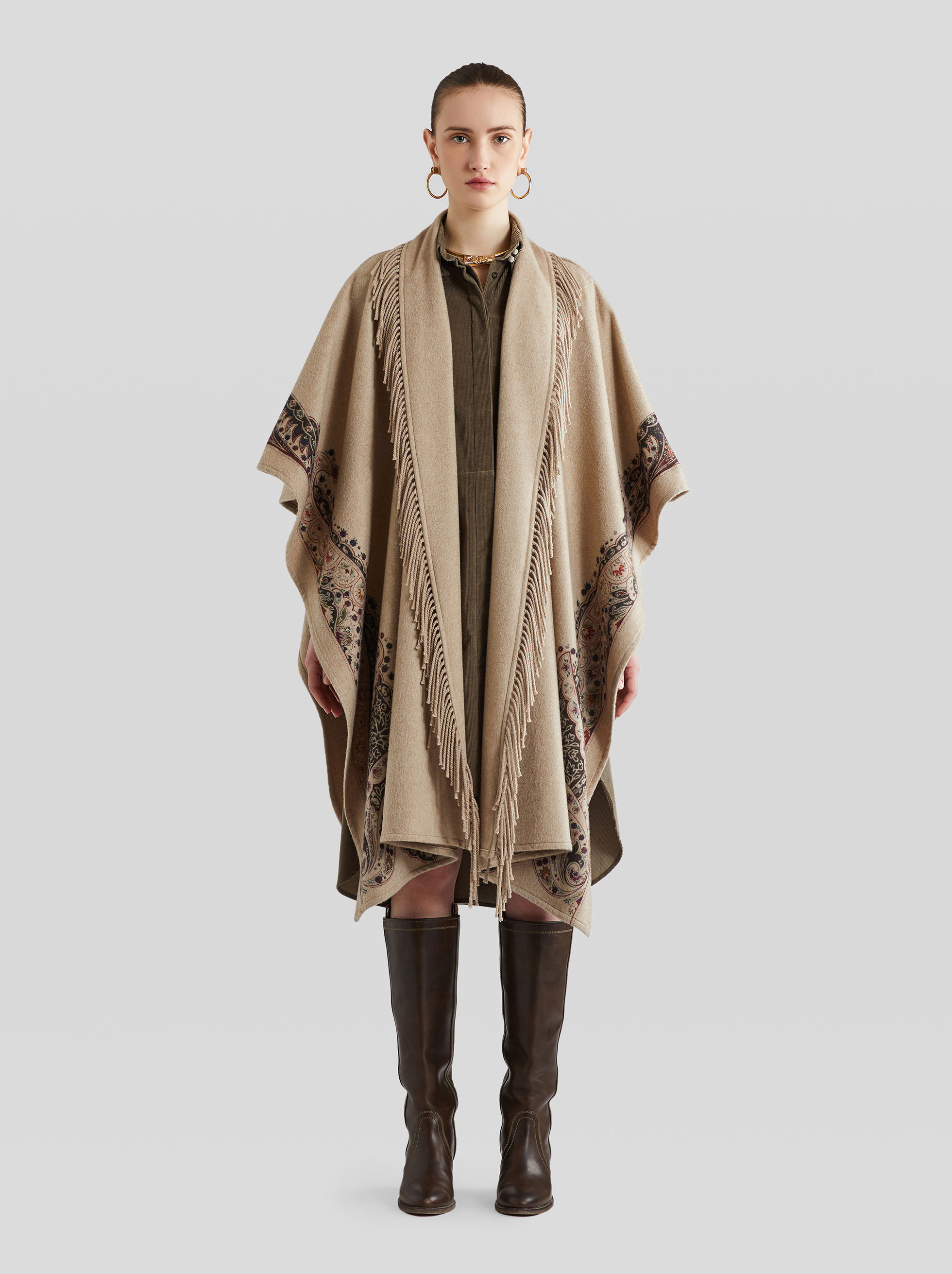 CASHMERE CLOAK WITH FRINGE