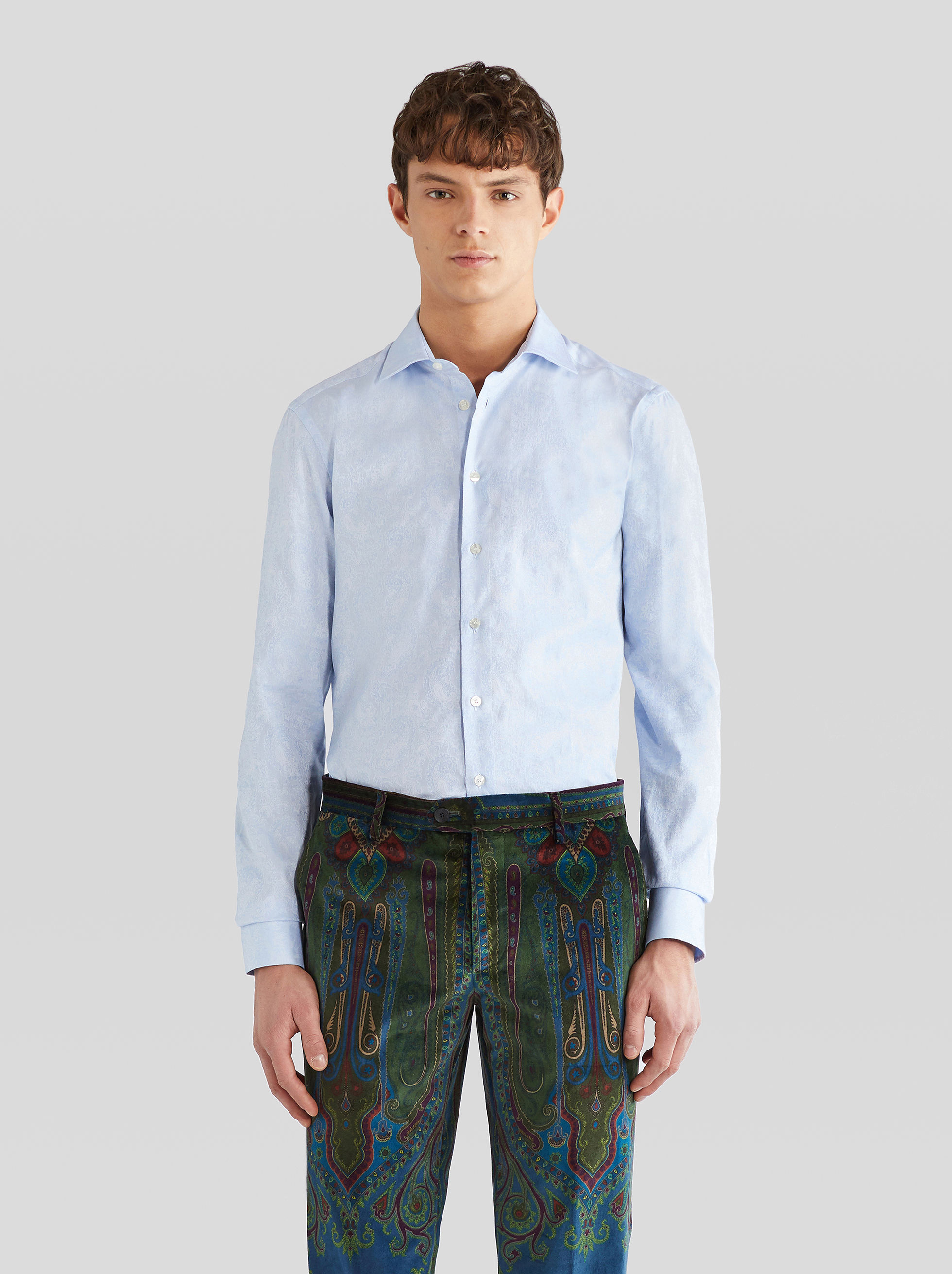 JACQUARD SHIRT WITH PAISLEY PATTERNS