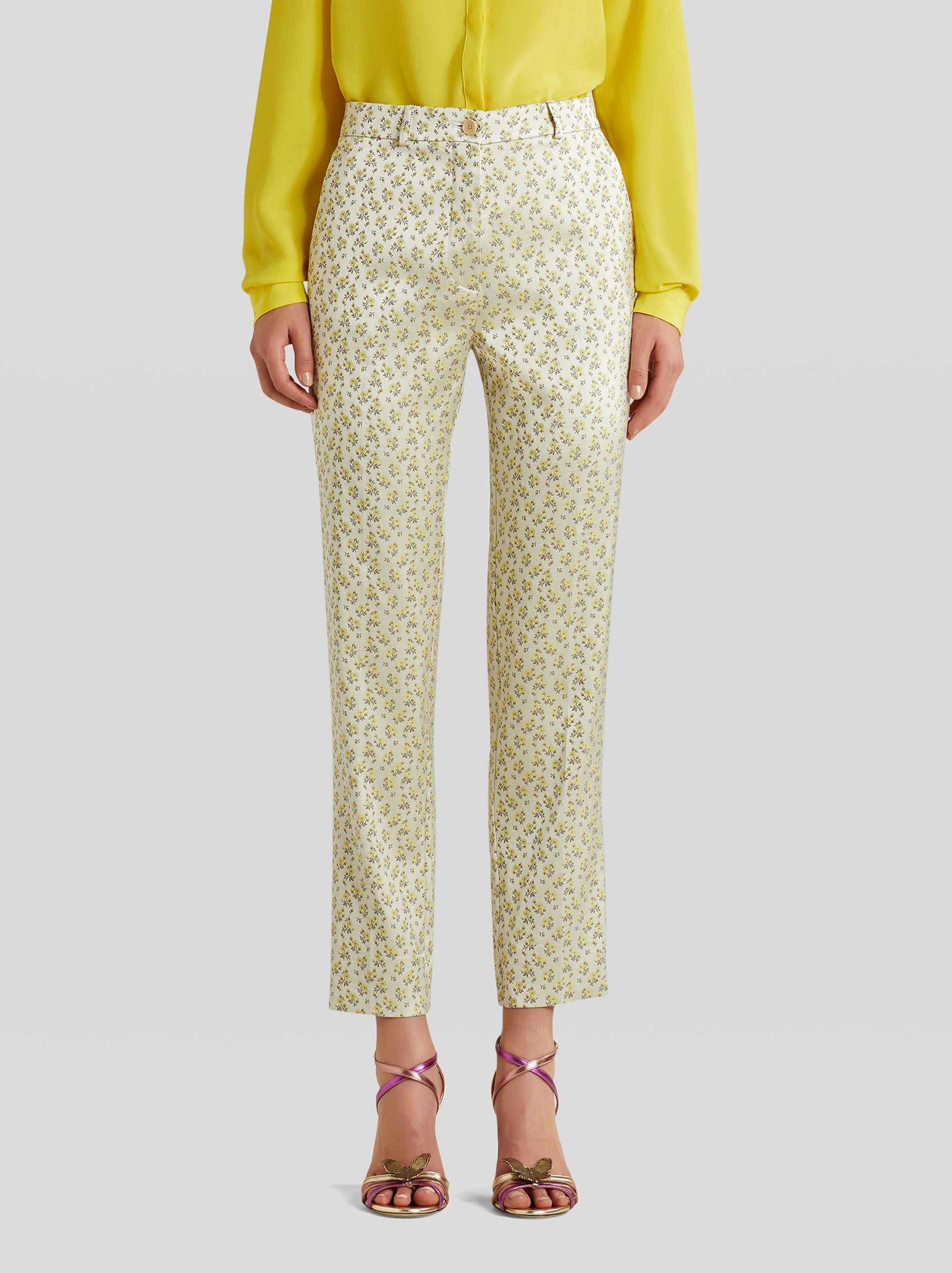 TAILORED FLORAL JACQUARD TROUSERS
