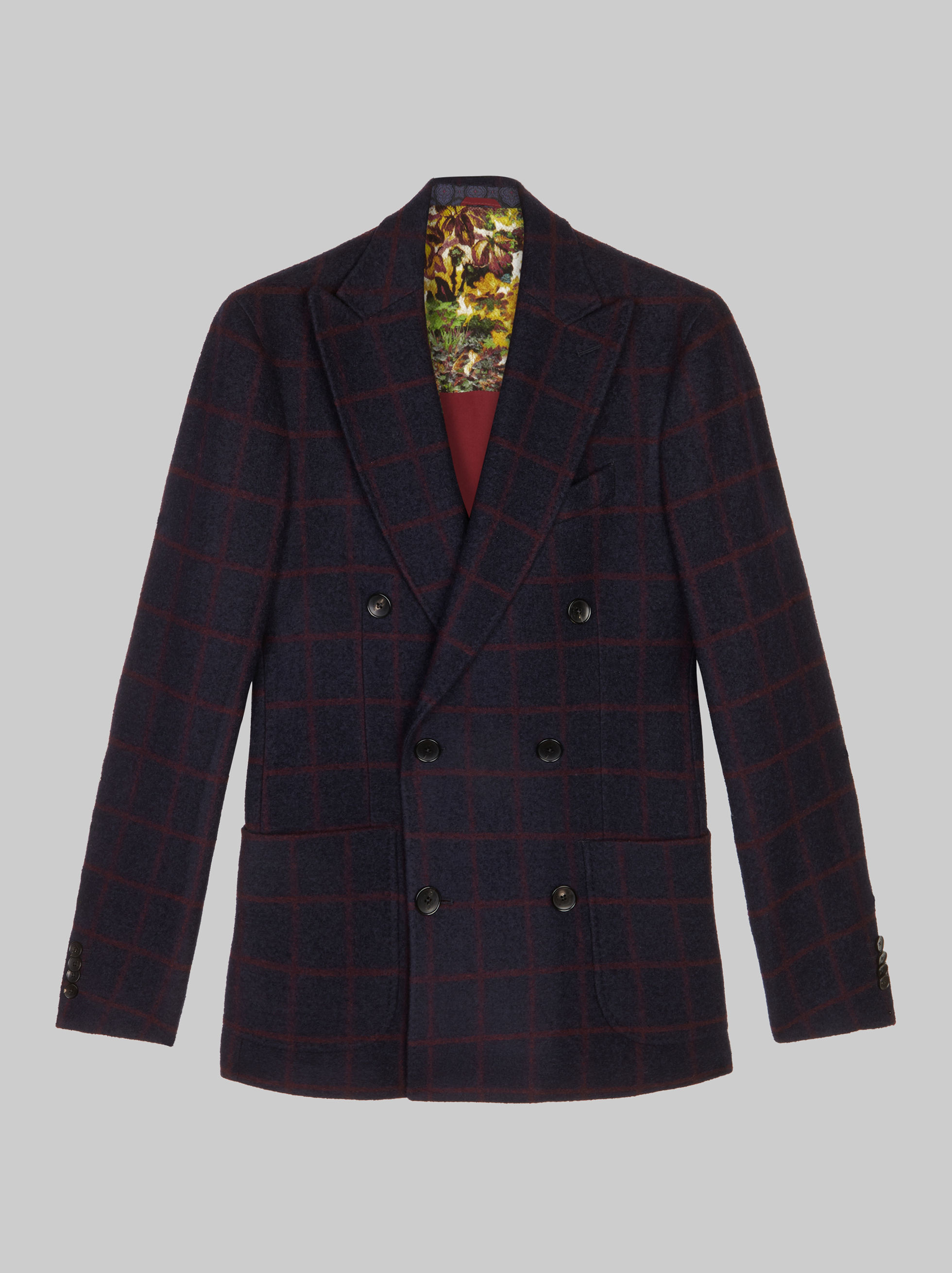 DOUBLE-BREASTED CHECK JACKET