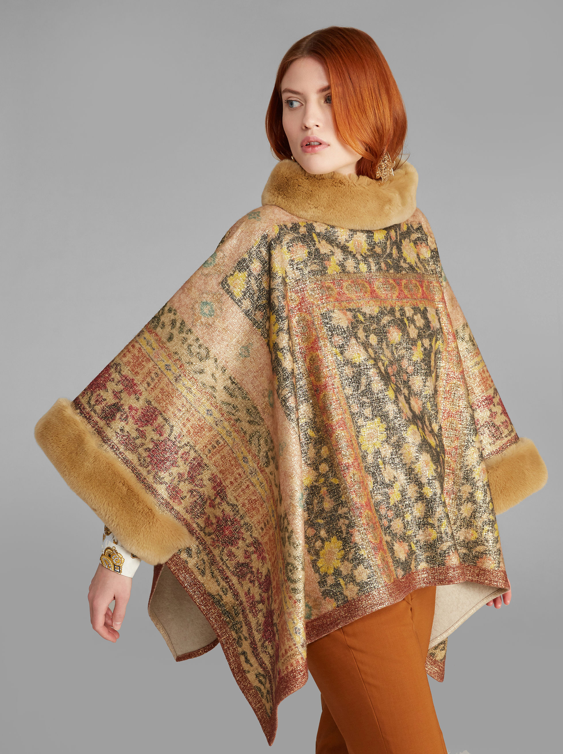 PONCHO WITH FUR TRIM